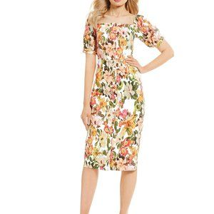 New Antonio Melanie floral Erin puffy sleeve dress